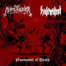 "NUNSLAUGHTER / HATEVOMIT - ""Nunvomit of Death!"" 7"" BLACK EP"
